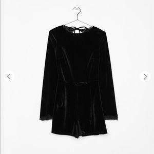 Bershka Black Velvet Short Romper